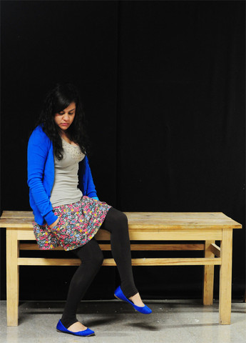 Jana T. - Zara My Favourite Blue Cardi, Bershka Shirt, Zara Flower Skirt, Zara Leggins, Zara My Favourite Blue Flats - Blue and flowers
