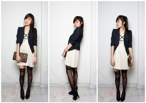 Amanda Liu - Blazer, Forever 21 Floral Leather Clutch, Kiss And Tell Dress, Diy Stockings, Diy Body Chain, Forever 21 Platform Heels - So Much Of Envious
