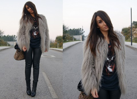 L A - Zara Faux Fur Coat, Bershka T Shirt - YOU KNOW WE R SUPERSTARS, WE R WHO WE R