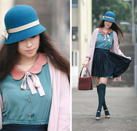 Mayo Wo - Tie Rack Teal Cloche Hat, Dress With Scalloped Collar, H&M Navy Blue Skirt, Vintage Burgundy Bag, Kari Ang Glittery Mary Jane - Close your eyes, just trust it, just trust it