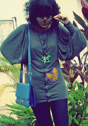 Aimi Baharin - Unbrand Gray Wowh, Handmade Horse Necklace, Levi's® Black Skinny, ? Blue, Vincci 60's - Never Too Late.....