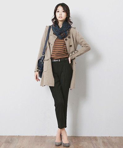 Lizzy Song - Camel Striped Shirt, Black Pleated Pants - Winter prints
