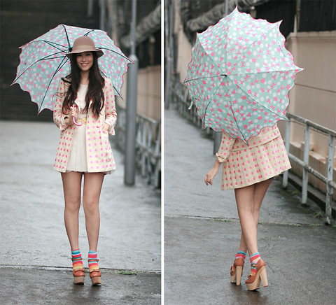 Mayo Wo - Mastina Umbrella, Madame Benjie Polka Dots Blazer, Undefined Colorful Socks, Opening Ceremony Chunky Mary Jane - When it rains, put on a smile, & some neon colors :)