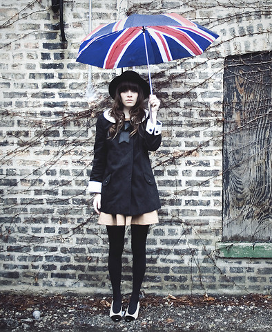 Rachel-Marie Iwanyszyn - Http://Www.Jaglever.Com, London Union Jack Umbrella, H&M Hat, Topshop Coat With Satin Collar + Sleeves, Zara Camel Dress, Tights, Thrifted Vintage Heels - You must be somewhere in London...