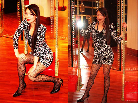 Lyka Lanuang - H&M Animal Printed Skimpy Dress, Black Beaded Necklace, Laced Stockings, Anne Klein Black Stilettos - Fleshly Black and White