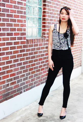 Lyka Lanuang - Black Beaded Necklace, H&M Striped Sleeveless, Highwaist Black Skinny, Anne Klein Stilettos - Lost Beyond