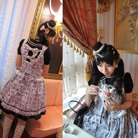 Zairai Chen - Mini Hat, Bow, Alice & The Pirates A/P Circus Print Jsk, Innocent World Blouse, Baby The Stars Shine Bright Over Knee Socks - Afternoon Tea at Victoria Garden