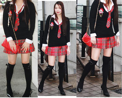 Lyka Lanuang - Migliore School Girl Set, H&M Knee High Socks, Anne Klein Black Stilettos, Gangnam Red Shoulder Bag With Gold Chain Strap - Hit Me Baby One More Time