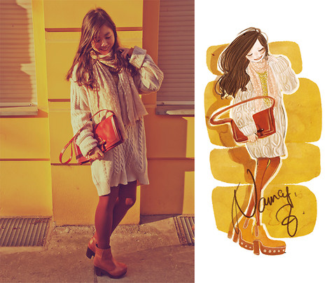 Nancy Zhang - Chloé Sweater, American Apparel Tights, Stella Forest Scarf, Topshop Boots - Gold sunshine in the afternoon