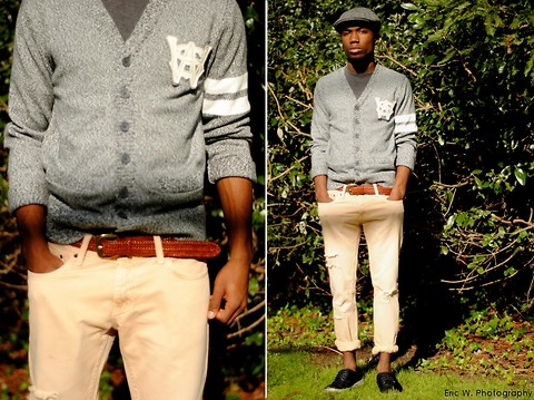Brandon Chase - Vintage Hat, Vintage Letterman Cardigan, Peach Khaki Ripped Jeans, Waxed Canvus Zig Zag Shoes - Rolledupfancy