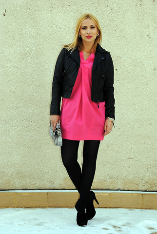 Ana Anghel - Zara Jacket, H&M Dress, Mango Bag, Zara Shoes - The Pink Dress