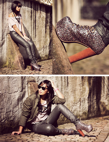 Anjelica Lorenz - Jeffrey Campbell Multi Glitter Lita, H&M Faux Leather Pants, Ele Handmade Leather Necklace - Glitter and graphics.