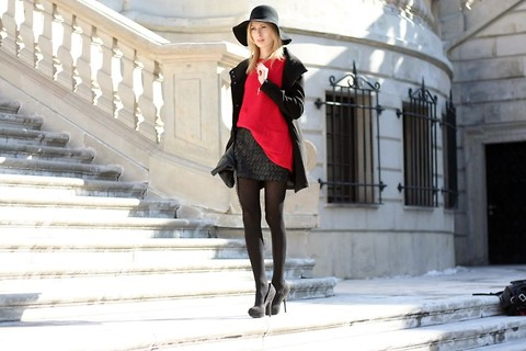 Caroline G - Reserved Coat, Romwe Red Jumper, Diy Leather Skirt, H&M Heels - Bloody Mary