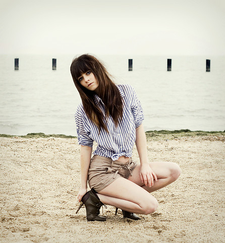 Rachel-Marie Iwanyszyn - Striped Button Up, Shorts, Heels, Http://Www.Jaglever.Com - Fade into you.