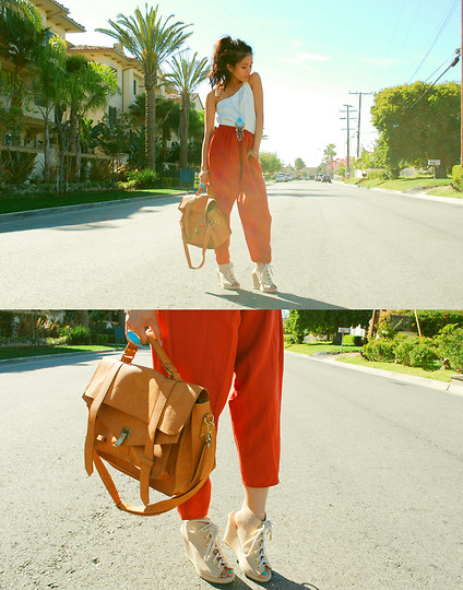 Olivia Lopez - Blanc Asymmetrical Dress, Modekungen.Se Rose Satchel, Opening Ceremony Stefania Wedges - Orange You Glad