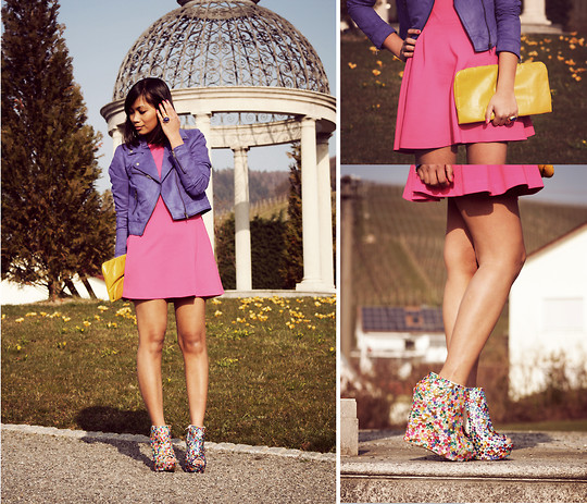 Anjelica Lorenz - Zara Dress, H&M Suede Biker Jacket, H&M Clutch, Haus Of Price Mega Booties - Take me to the candyshop?