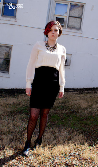 Gina S. - Clea By Annie Costello Brass Beaded Necklace, Talbot's Pleated Blouse, Undefined Black Pencil Skirt, Asos Sheer Heart Tights, Thrifted Heeled Oxford - Pro victoria.