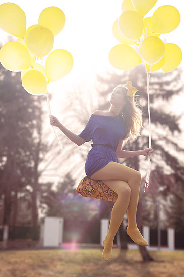 Zuzi * - Blue Dress, Yellow Tights, Diy Bow - I was thinking that I might fly today