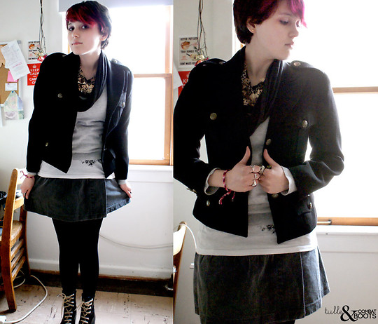 Gina S. - Dkny Vintage Military Blazer, Handmade Geometric Necklace, Free People Denim Skirt, Boxer Style Boots, Urban Outfitters Sparkly Circle Scarf - Future foe scenarios.