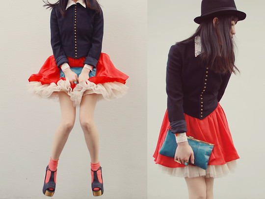 Shan Shan - Ralph Lauren Jacket, Page Boy Skirt, Jeffery Campbell Shoes, Vintage Shirt - Orange marilyn