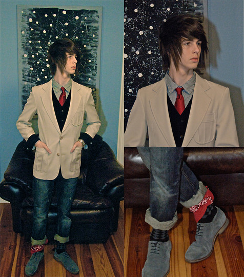 Jonathan Wolf - Express Socks, Dillard's Courduroy Vest, Guess? Black Striped Shirt, My Closet! Tan Coat, Tommy Hilfiger Red Tie, Red Bandana, Bull Head Jeans, Steve Madden Blue Suede Shoes - Keep it classy
