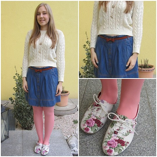 "Mara H - Promod Buttoned Up Denim Skirt, Promod Brown Leather Belt With A Bow, Zara Flowery Sneakers, H&M Tights, Mango White Cropped Sweater, Knitted, H&M Gold Scissor&Squirrel Necklaces - Spring is nature's way of saying, ""Let's party!"""