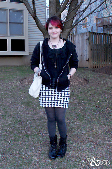Gina S. - Thrifted Chiffon Bow Top, Thrifted Checkered Skirt, Gap Sparkly Tights, We Are Scientists Tote Bag - Black magic.