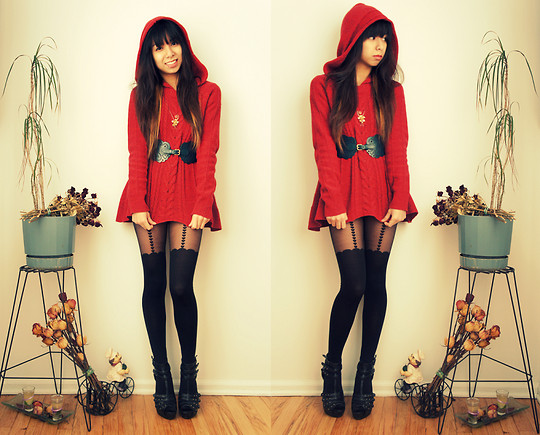 Melanie P. - Anthrologie Red Swing Hooded Sweater, Vintage Golden Flower Necklace, Urban Outfitters Kimchi Blue Scallop Belt, Asos Heart Suspender Tights, Forever 21 Studded Heels - Miss little red riding hood