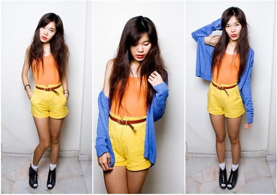 Amanda Liu - Zara Orange Top, Forever 21 Yellow High Waisted Shorts, Present Blue Cardigen, Nicchi Clog Heels - Dare To Be Coloured