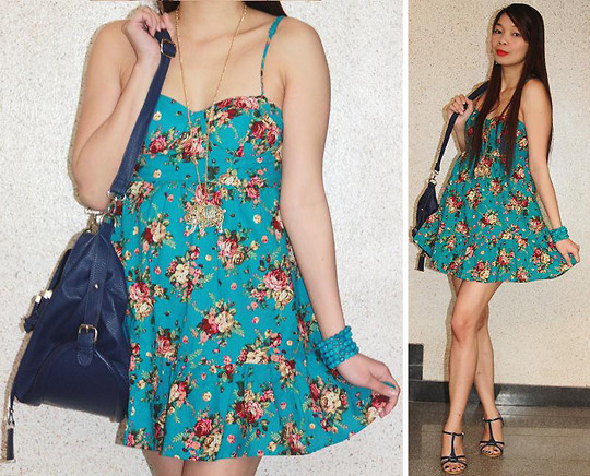 Lyka Lanuang - Forever 21 Floral Dress, Forever 21 Beaded Bracelet, Forever 21 Elephant Necklace, Virtual Insanity Blue Shoulder Bag, Myeongdong Blue Wedges - Bluer than Blue