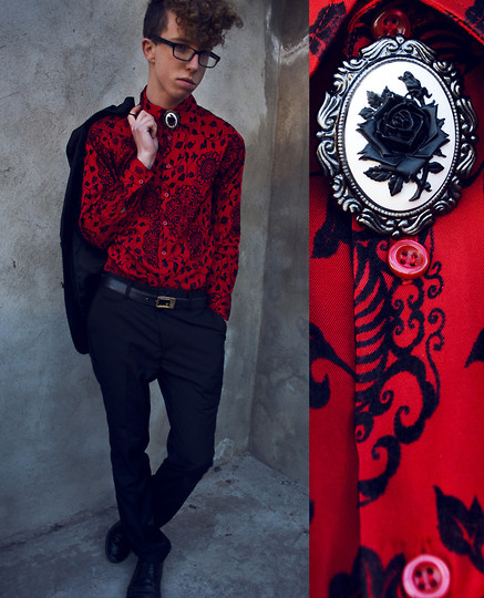 RA ☥ - Trocky Red Floral Shirt, Retro Brooch - I like the color red. It is for love, it is for death