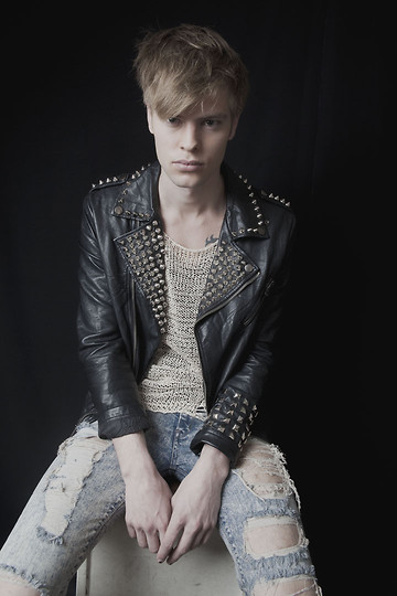 Fredric Johansson - Zara Custom Studded Jacket, Virginblak Ripped Mesh Tee, Salt Avenue Ripped Light Blue Jeans - Studs