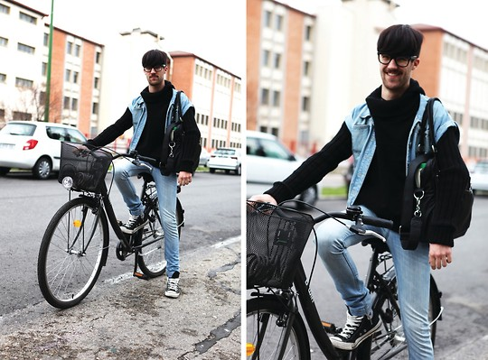 Javier Sendin - Zara Sweater, Blanco Jeans, Mango Vest, B'twin Bike - School days.