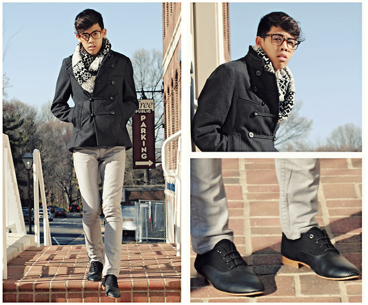 Bryan Do - Bdg B&W Navajo Scarf, Troysmith For D Military Jacket, Levi's® Grey Skinny Jeans, Generic Surplus Wooden Sole Dress Shoes - Politeness is to human nature what warmth is to wax.