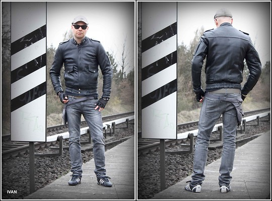 Generalmente insondable transmisión  Ivan Johannes - Adidas Sneakers, Dr. Denim Slim Fit Jeans, Vintage Leather  Jacket, Urban Tools Hip Holster, Ray Ban Wayfarer - Brand With I I I  Stripes | LOOKBOOK