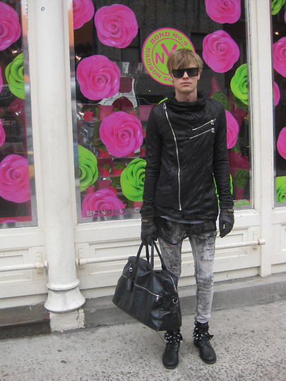 Fredric Johansson - Virginblak Mesh Shirt, Cheap Monday Shades, Colin By Hash Assymetric Jacket, Virginblak Ripped Pants, Virginblak Studded Boots, H&M Bag, Lars Wallin Gloves - Flower Power