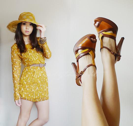 Kryz Uy - Diy! Yellow Dress, Charles And Keith Color Block Heels - Sunset Patterns