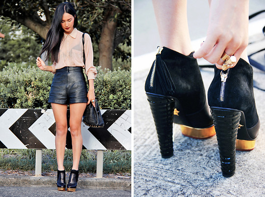 Nicole Warne - American Apparel Shirt, Gary Pepper Vintage Leather Shorts, Alexander Wang Bag, Charlotte Olympia Boots, Bec & Bridge Mineral Ring - My Charlotte Olympia's <3