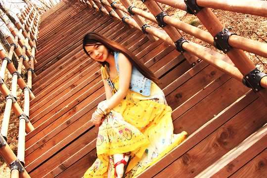 Lyka Lanuang - Shapers Floral Maxi Dress, Thrifted Denim Vest, H&M Gold Bangles - Cherry Blossom, Blue Sky and Gentle Breeze.