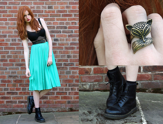 Olivia Emily - Tk Maxx Sparkly Socks, Fox Ring, Mesh Dress (As Top), Charity Shop Mint Pleated Skirt, Docs - Foxxy Cleopatra