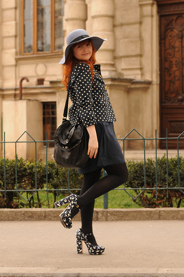 Ioa G - Miu Sparrow Print Shoes, Wolford Black Tights, H&M Dark Blue Dress, Juicy Couture Polka Dot Jacket, Asos Floppy Hat, Marc By Jacobs Basic Black - Polka dots & Sparrow prints