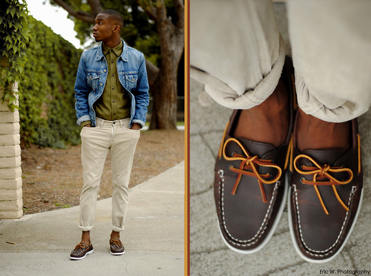 "Brandon Chase - Boat Shoes, Corduroy Pants, Jean Jacket, Army Button Up - O""live""day"