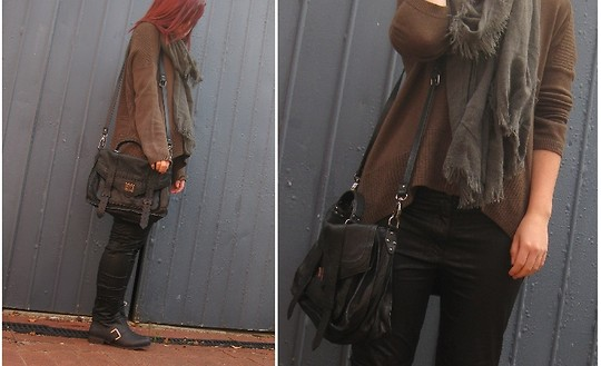 Tamara Cordon - Witchery Satchel Bag, Ksubi Leather Leggings, Witchery Knitted Jumper, Gregory Ladner Scarf, Witchery Boots - Warm