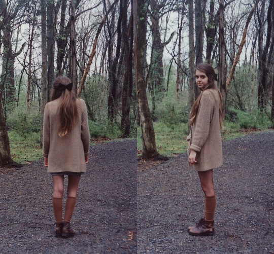 Megan Braaten - Urban Outfitters Oversized Sweater, Knee High Socks, Combat Boots - Leisure Suite