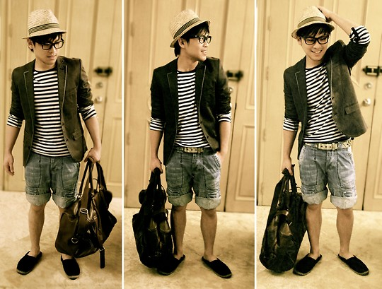 Hanz Go - Topman Grey Coat, H&M Weaved Fedora, H&M Striped Long Sleeves, Esprit Leather Duffel Bag - Striped Stripes