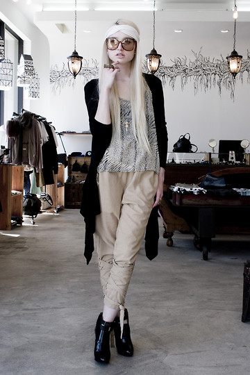 Marie Hamm - No. A Headband, Dead Stock Vintage Sunglasses, Kill City Backlass Drape Cardigan, Uniq Animal Print Top, Proenza Schouler Wedges, Twelfth Letter Pants, Lily & Crow Pryamid Rings - N°A.
