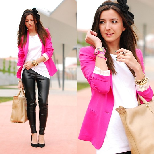 Alexandra Per - Zara Pink Blazer, Bimba & Lola Bag, Zara Shoes, Sfera Headband, H&M Leather Pants - Pink version