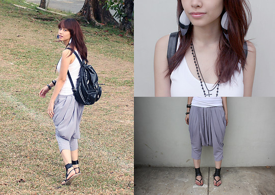 Bea Benedicto - People Are Chiffon Harem Pants, Kimbel Black Leather Backpack, Ma Artsy Shop Feather Earrings, Greenhills Black Sandals - Tribal Meets Gothic