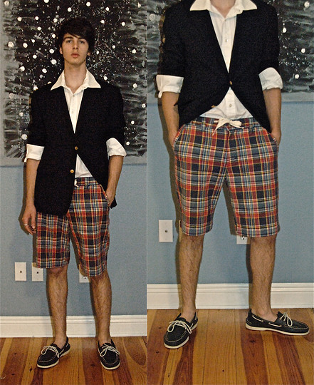 Jonathan Wolf - Nautica Navy Blazer, White Button Down, Sperry Navy Sperry's, Urban Outfitters Gawdy Shorts - GAWDY SHORTS