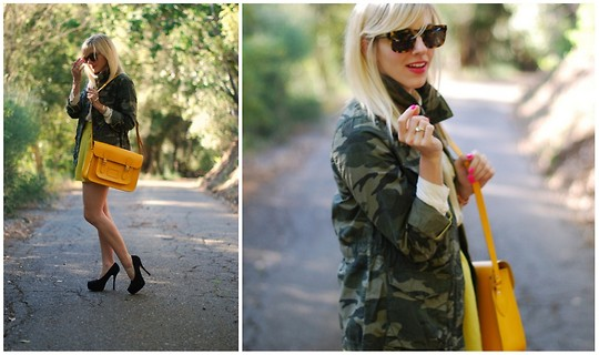 Taylor Sterling - Old Navy Camo Jacket, Karen Walker Leopard Sunnglasses, The Cambridge Satchel, Undefined Yellow Skirt, Dolce Vita Black Pumps - Neon & Neutral